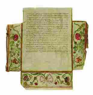 Illuminated Ketubah on Parchment - Pesaro, 1714 -
