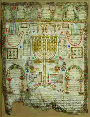 """Amulet - """"Shiviti-Menorah"""" - Algiers / Morocco"""
