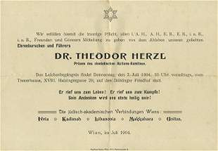 Collection of Items - the Death of Theodor Herzl, 1904