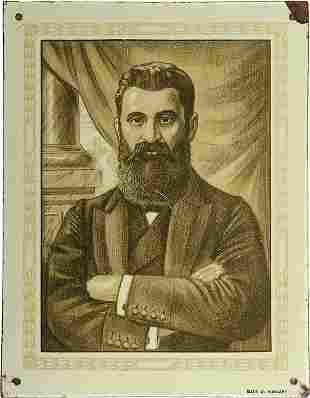Enamel Plaque - Portrait of Theodor Herzl - Hungary