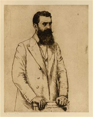 Hermann Struck - Portrait of Theodor Herzl -Engraving