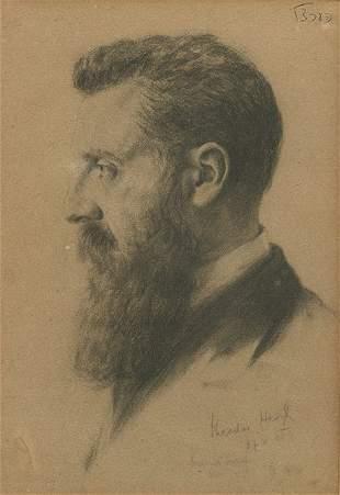 Hermann Struck - Portrait of Theodor Herzl -Lithograph