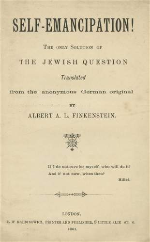 "Yehudah Leib Pinsker - ""Self-Emancipation"" - First"