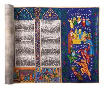 Large Esther Scroll - Colorful Illustrations