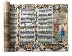 """Illustrated Esther Scroll on Parchment - """"HaMelech"""""""