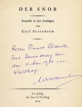 Carl Sternheim - Five Books With Dedications In His