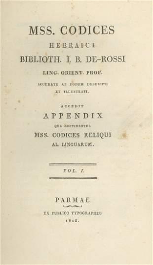 Monograph about Hebrew Incunabula - Parma, 1803 - Three