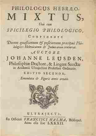 Johann Leusden - Book about Jewish Customs - 1682