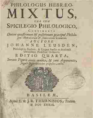 Johann Leusden - Book about Jewish Customs - Basel,