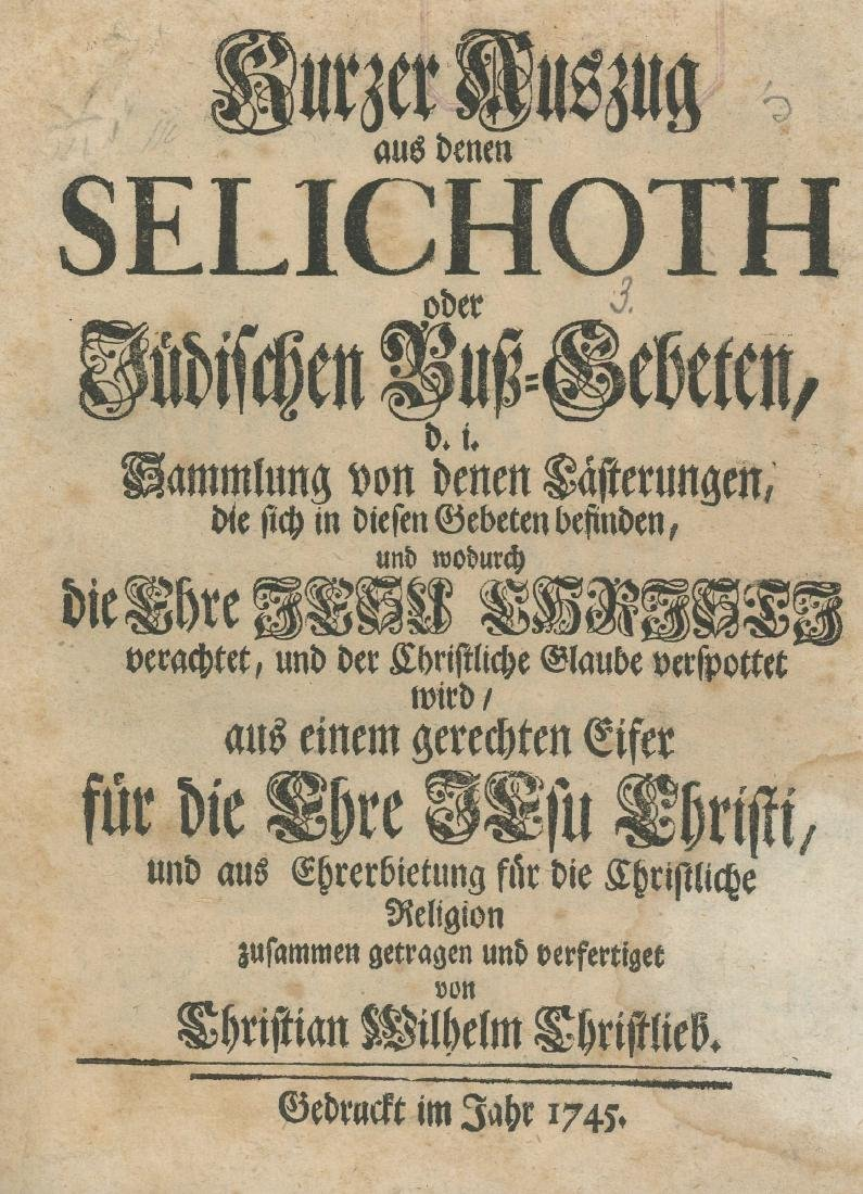 Abstract from Selichoth - Anti-Semitic Composition -