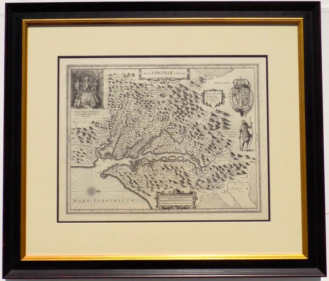 Nova Virginiae Tabula by Hondius, 1633 (John Smith)