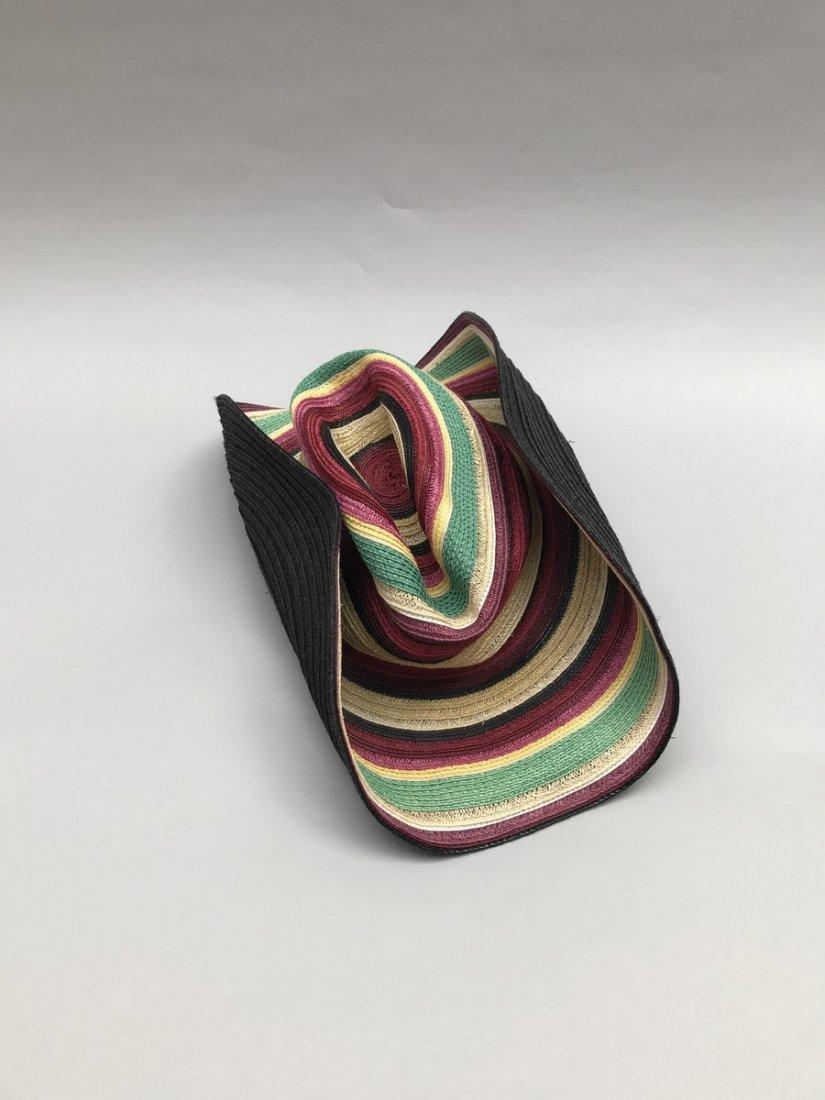 HERMES  Chapeau en paille multicolore. Doublure - 2