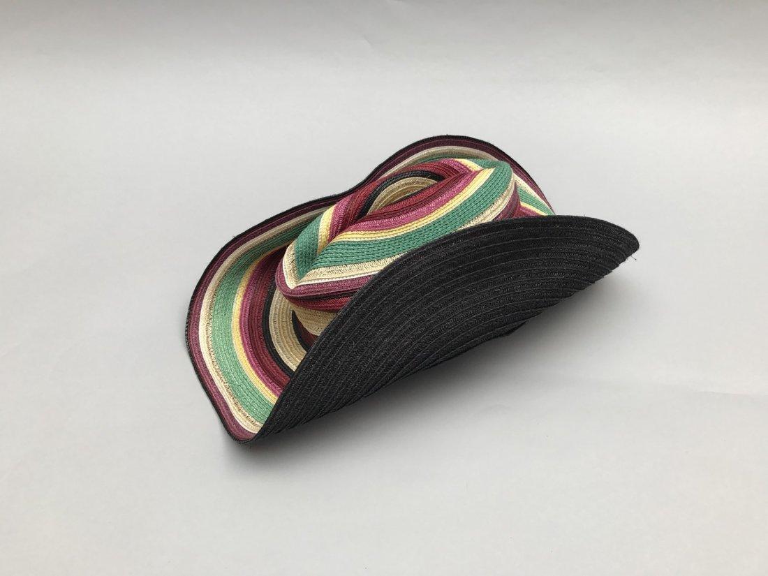 HERMES  Chapeau en paille multicolore. Doublure - 3
