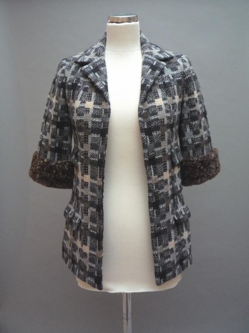 CHANEL  VESTE longue en tweed multicouleurs, laine et