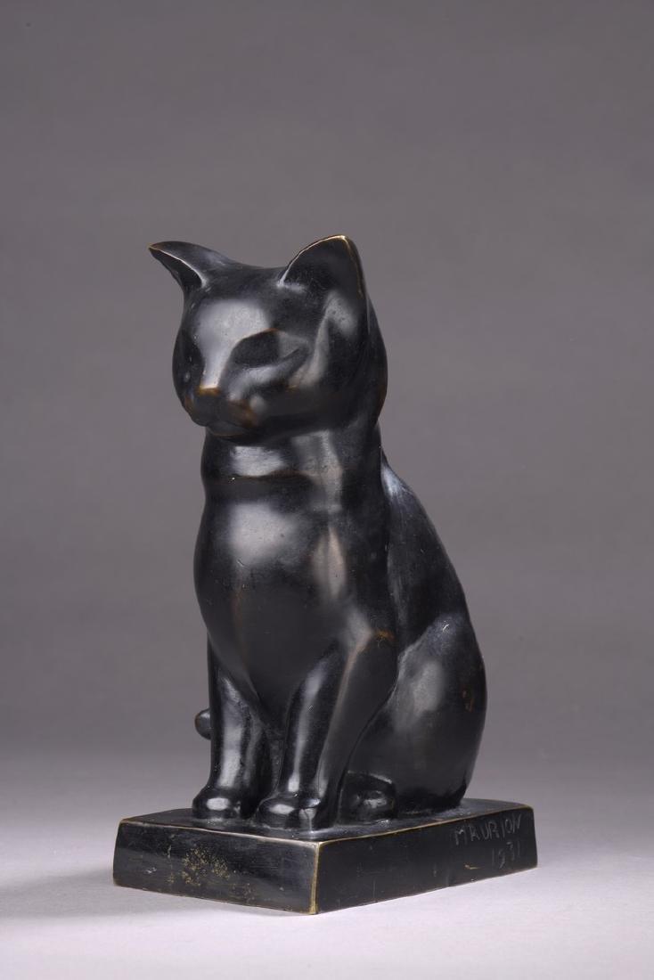 MAURION(XXème SIECLE)  Le Chat,1931  Bronze à