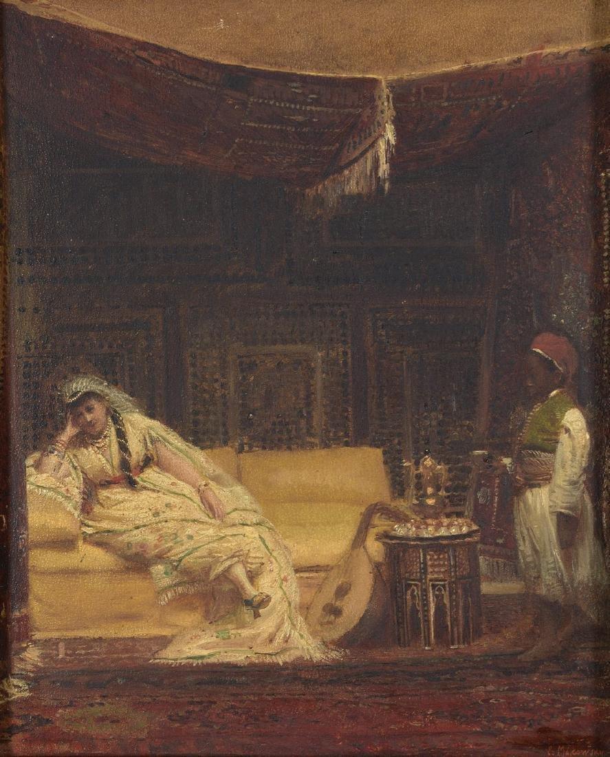E.MAKOWSKY - ECOLE RUSSE  Femme allongée dans un harem