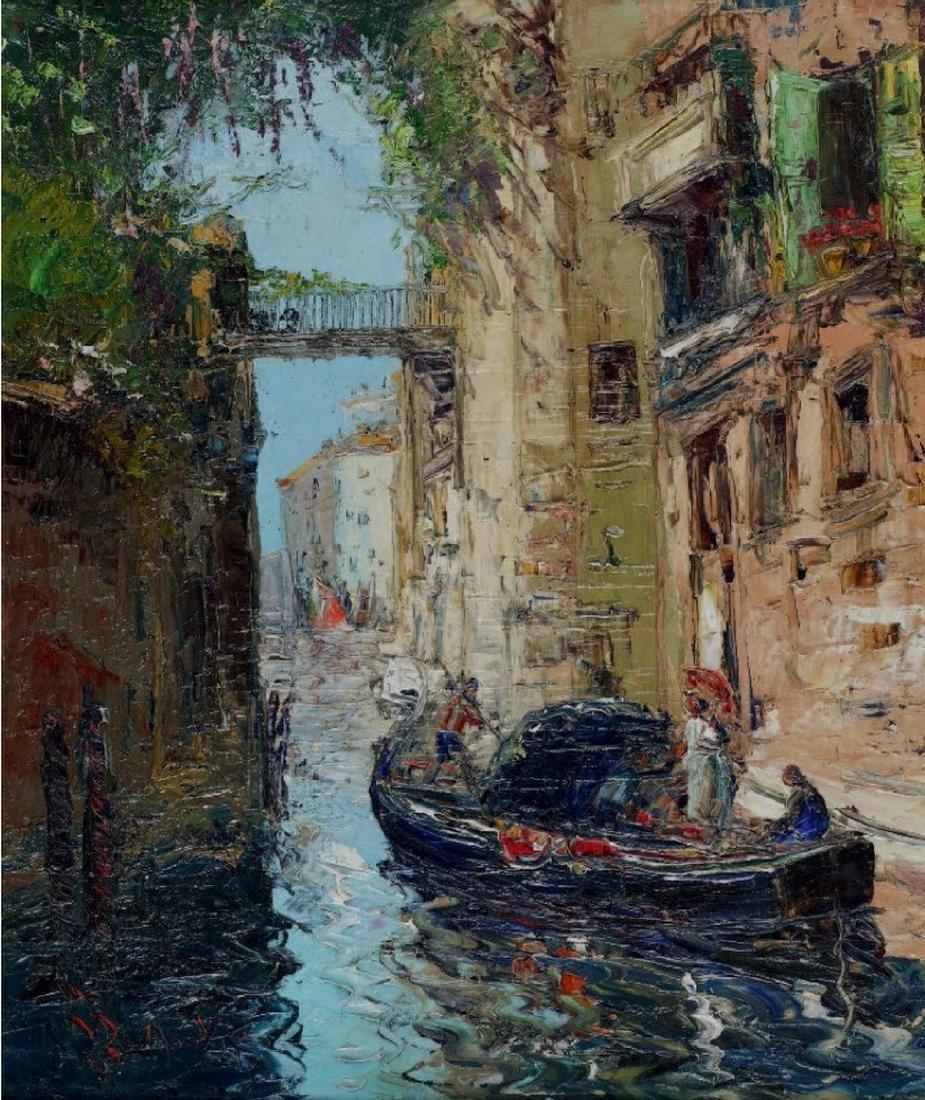 ECOLE FRANCAISE DU XXème SIECLE  Canal à Venise  Huile