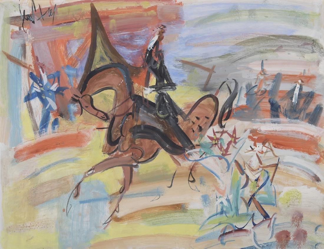 GEN-PAUL (1895-1975)  Cavalier au cirque  Aquarelle et