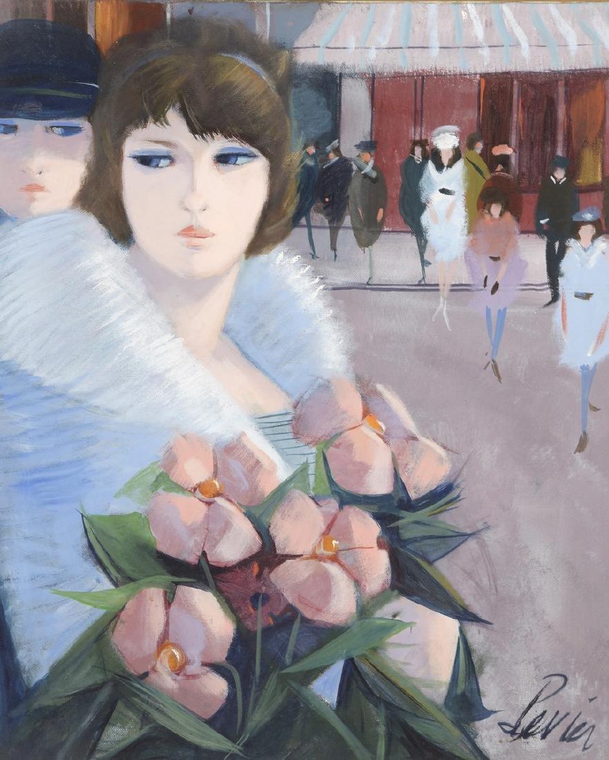 Charles LEVIER (1920-2003)  La rue  Huile sur toile,