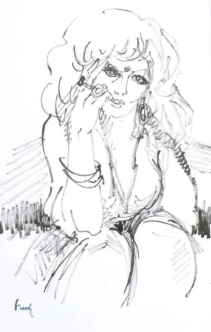 Freek VAN DEN BERG (1913-2000)  Femme assise  Encre sur