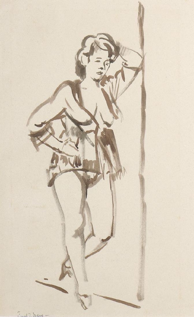 Freek VAN DEN BERG (1913-2000)  Femme debout  Encre sur