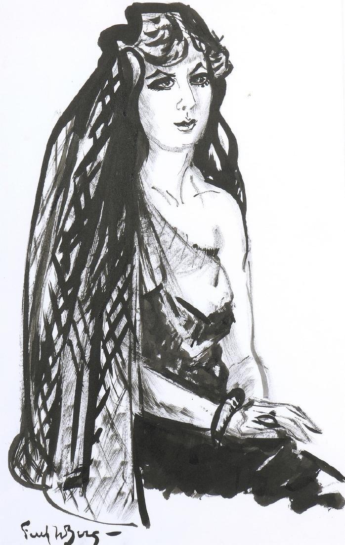 Freek VAN DEN BERG (1913-2000)  Femme à la mantille