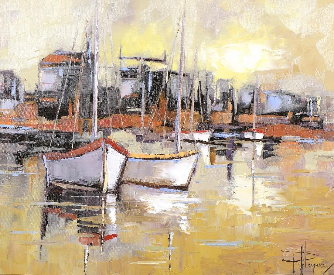 Olivier PFLEGER (Né en 1954)  Bateaux au port