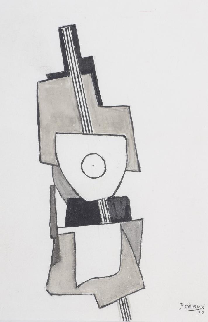 """Raymond PREAUX (1916-1997)  """"Composition, 1950""""  Feutre"""