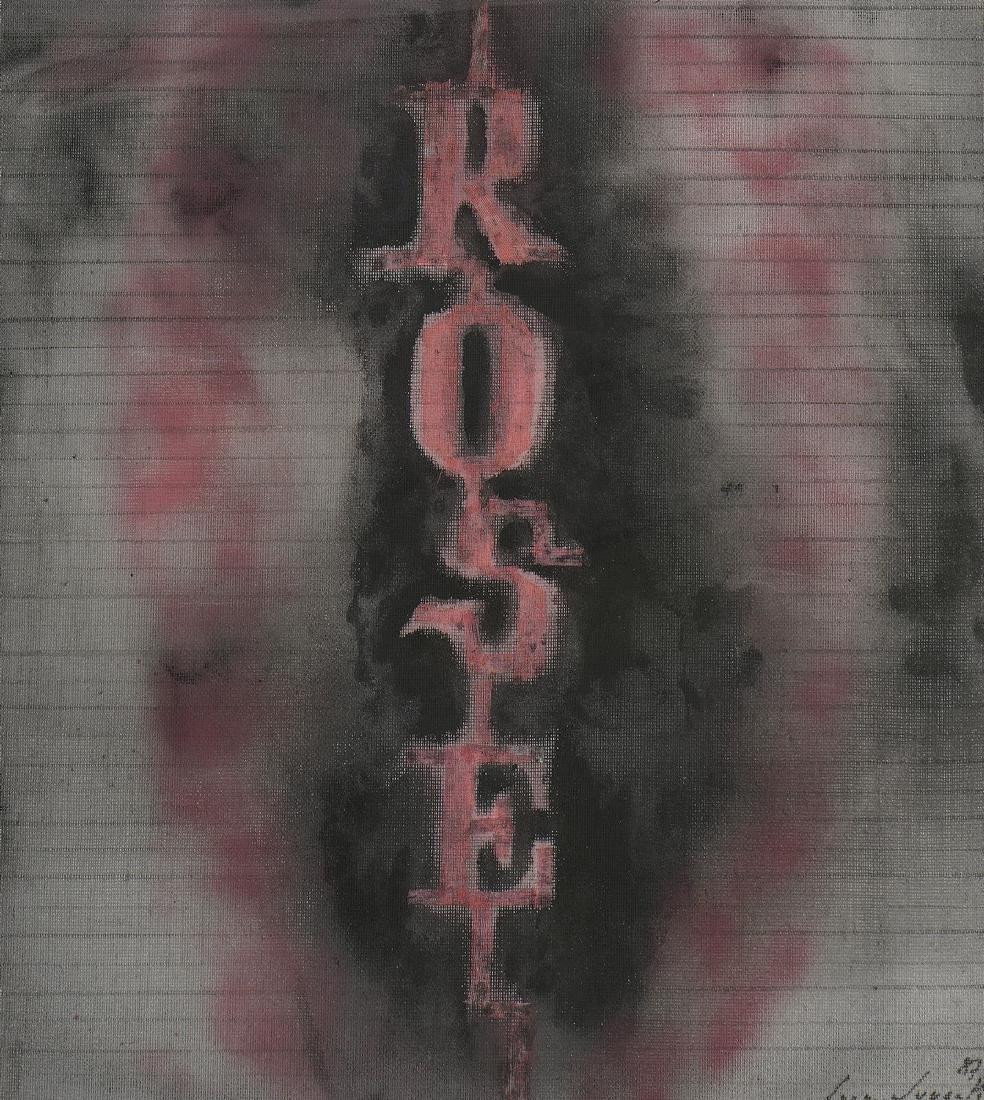 Bernard QUENTIN (Né en 1923)  «Rose»,1987  Acrylique