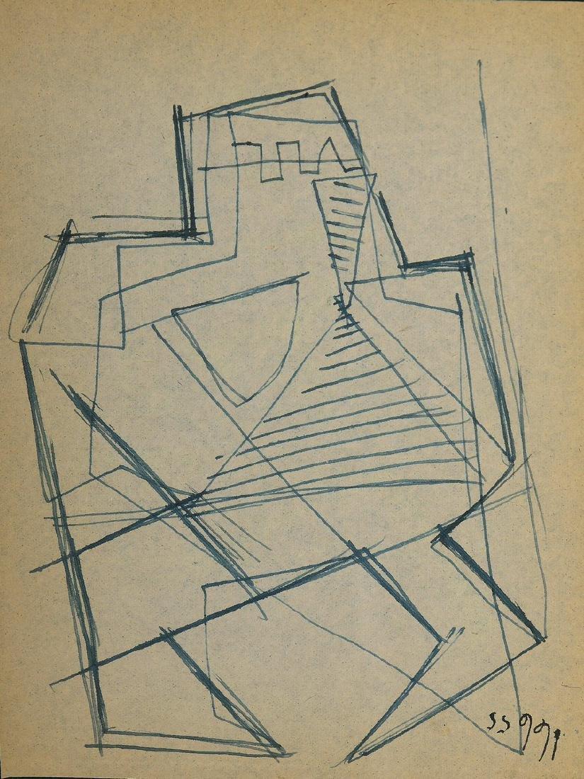Siep VAN DE BERG (1913-1998)  Maskers 1955  Dessin au