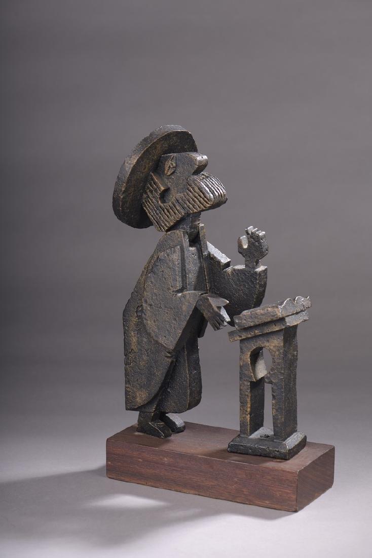 Frank MEISLER (Né en 1929)  Rabbin en prière  Bronze,