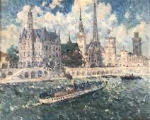 Maxime MAUFRA (1861-1918)   Péniche sur la Seine