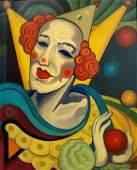 Hugo SCHEIBER (1873-1950)  Le clown blanc  Huile sur