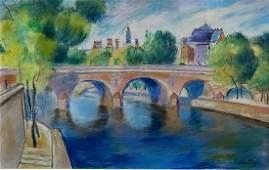 Jànos KMETTY (1889-1975) Quai de Seine Pastel sur