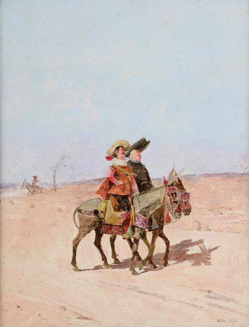 Enrique ATALAYA (1851-1914) Les cavaliers Huile sur pan