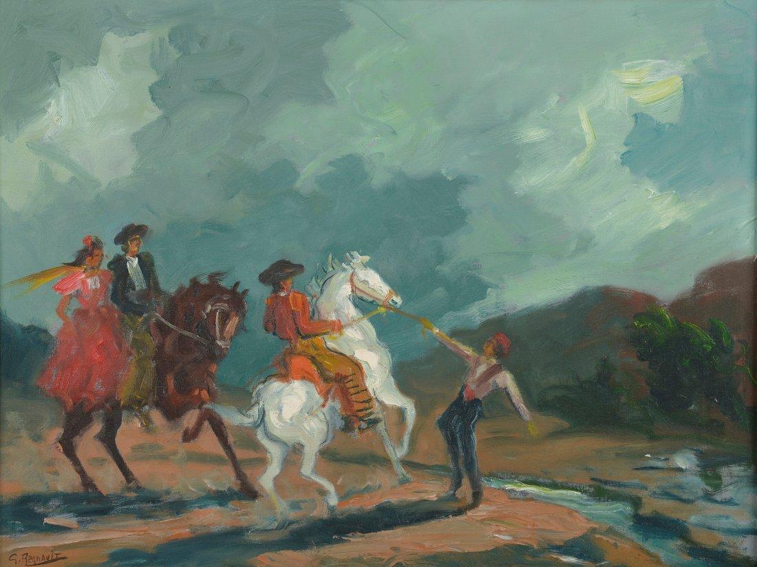 Georges REGNAULT (1898-1979) Cavaliers espagnols Huile