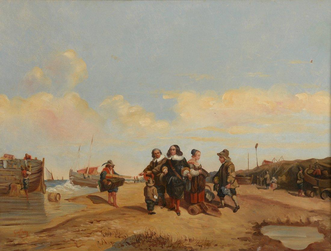 GEOFFROY (XIXème siècle) Les rescapés du naufrage Huile
