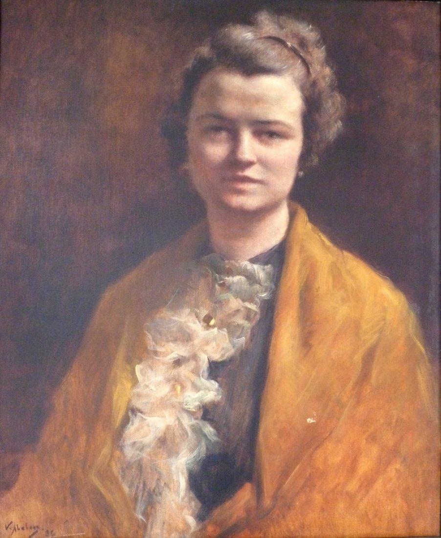 Victor ABELOOS (1881-1965) Portrait de femme, 1936 Huil