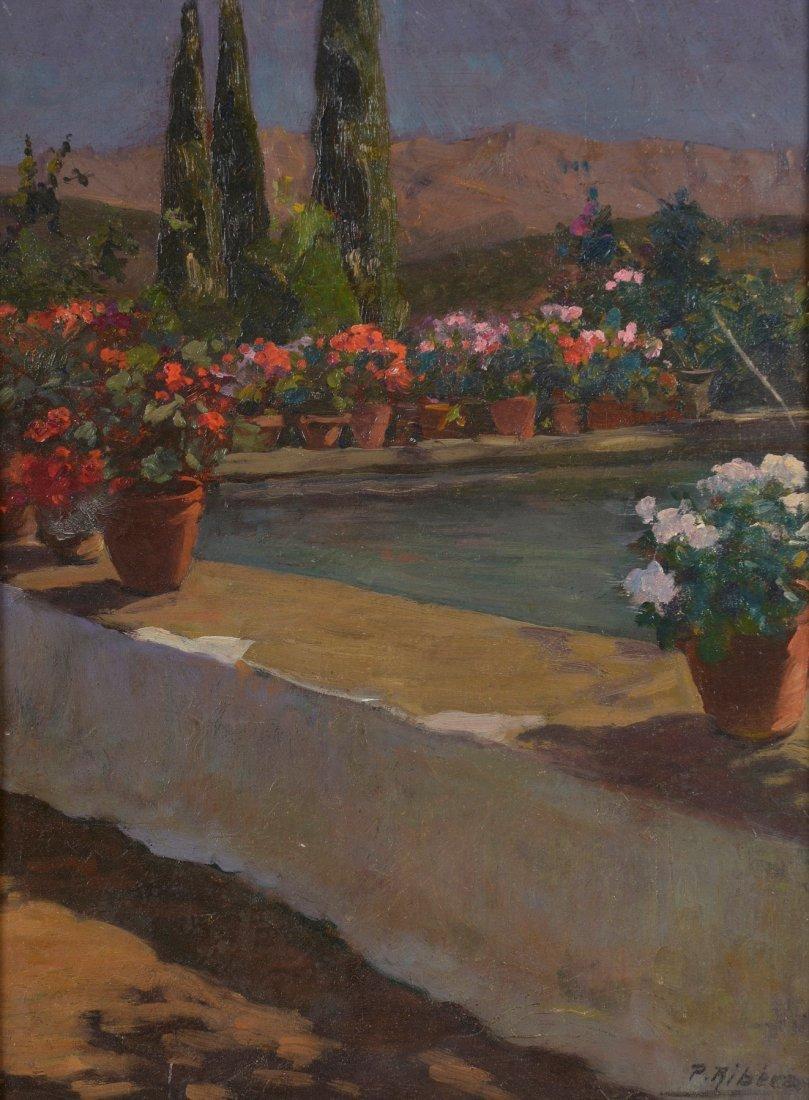 Pedro RIBERA (1867-1949) Le bassin fleuri Huile sur pan