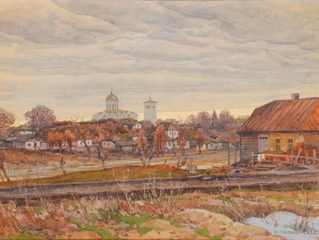 Paul GRABWINKLER (1880-1946) Village d'Europe centrale