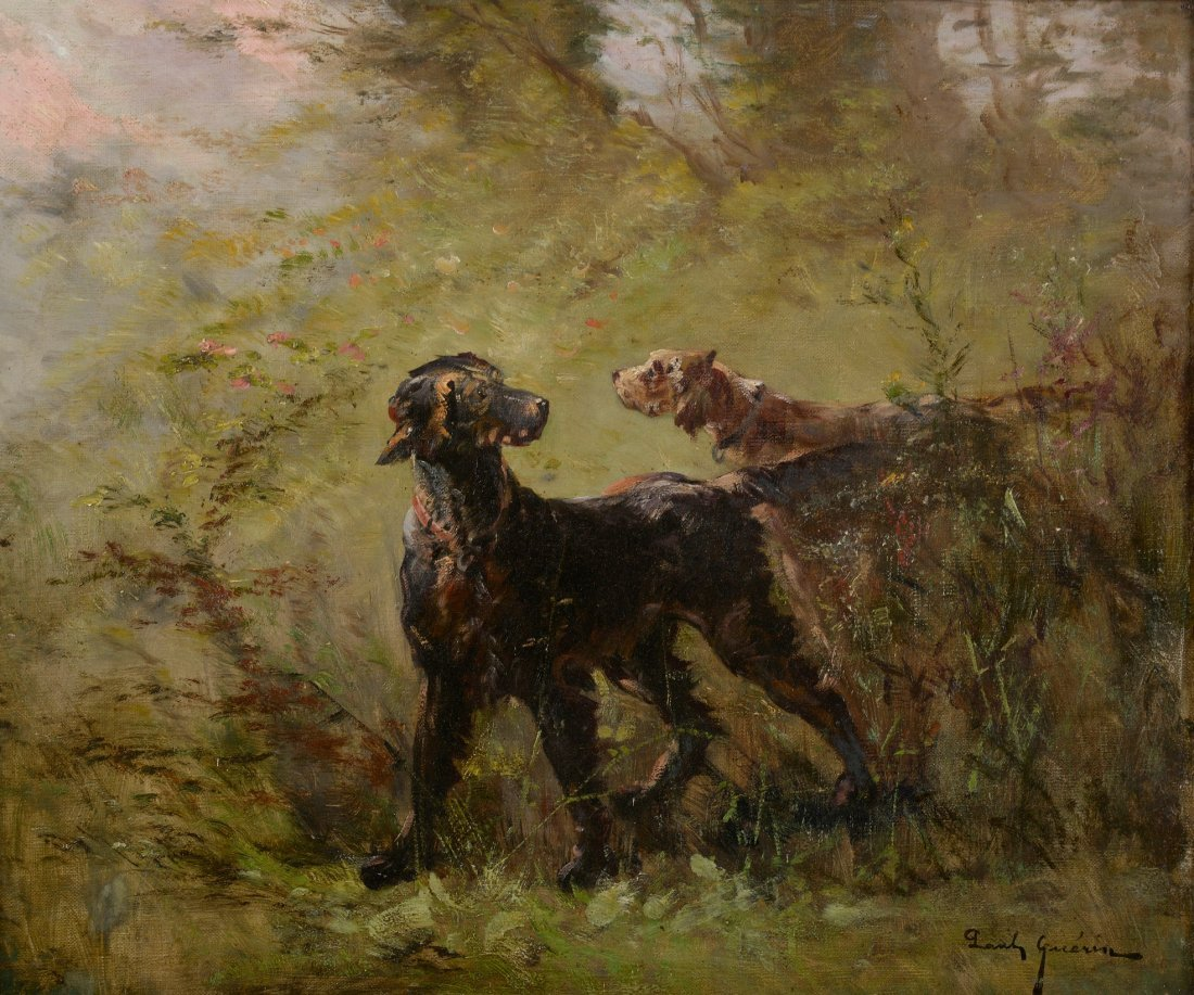 Paul GUERIN (XIX-XXème siècle) Chiens de chasse Huile s