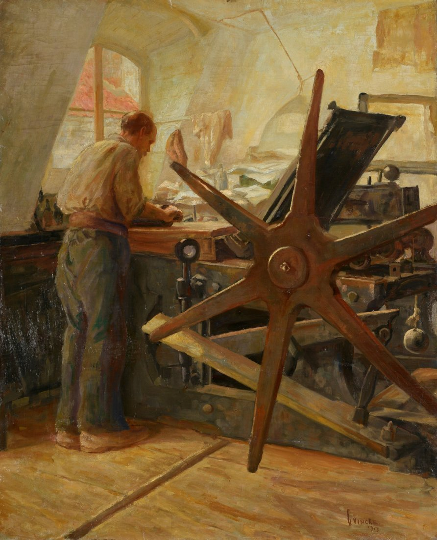 Gaston VINCKE (1882-1950) Dans l'atelier, 1913 Huile su