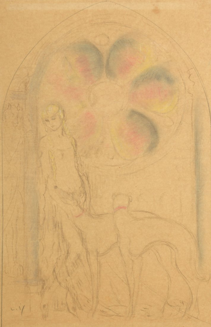 Louis ICART (1888-1950) Elégante et ses lévriers Crayon