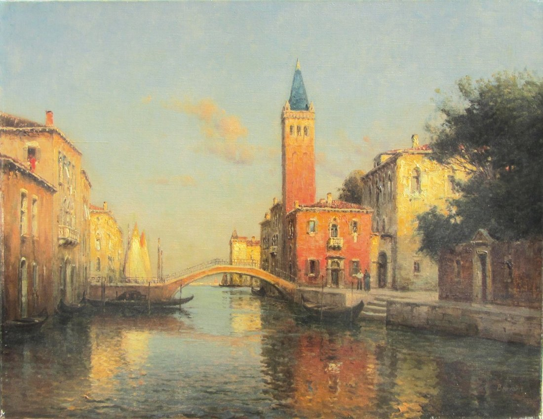 Antoine BOUVARD (1870-1956)  Canal à Venise Huile sur