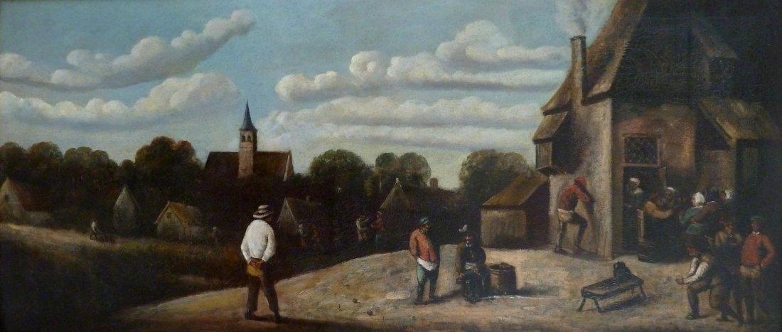 ECOLE HOLLANDAISE DU XIXème SIECLE Scène villageoise