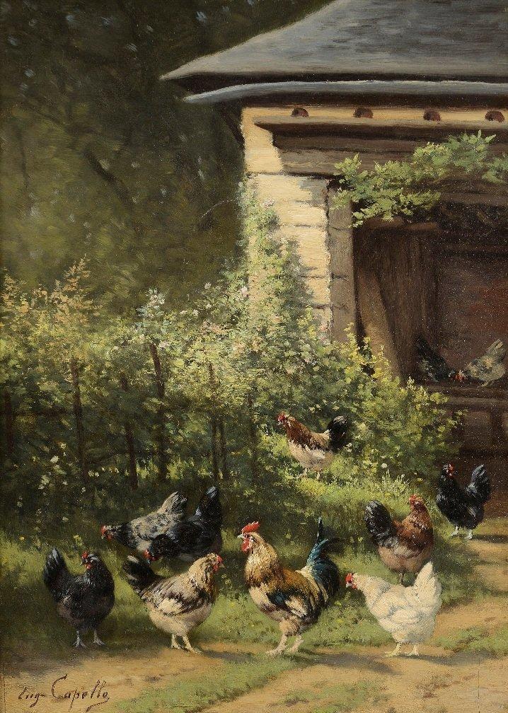 Eugène CAPELLE (1834-1887) Basse-cour Huile sur panneau