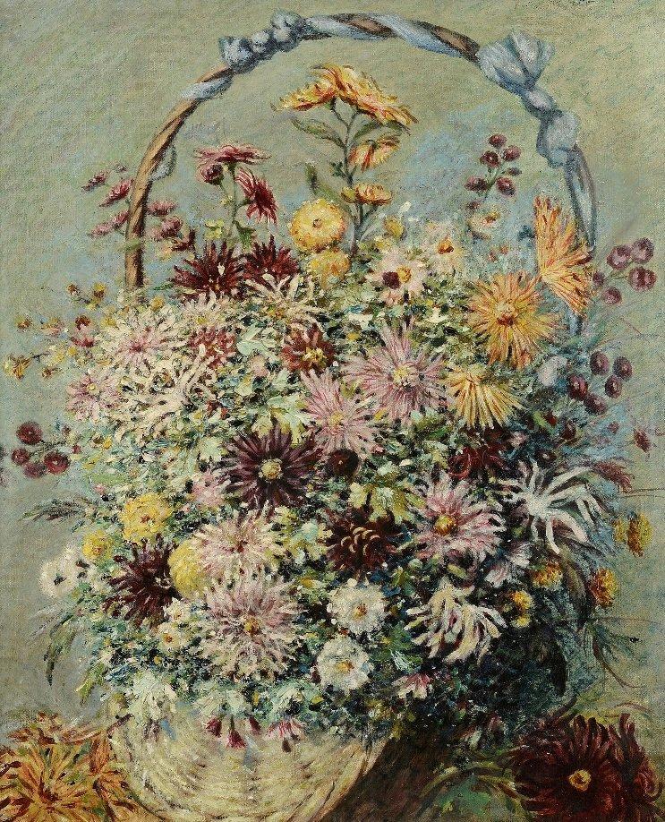 Albert GLEIZES (1881-1953) Panier de fleurs,1903 Huile