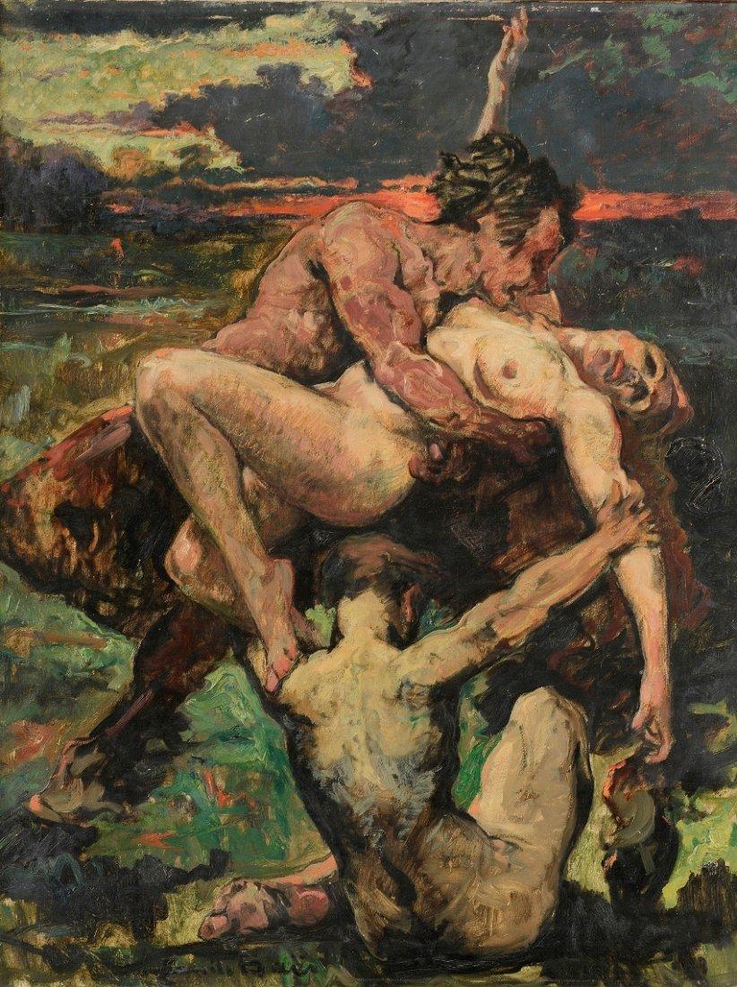 Emile BAES (1879-1954) Bacchanale Huile sur toile,