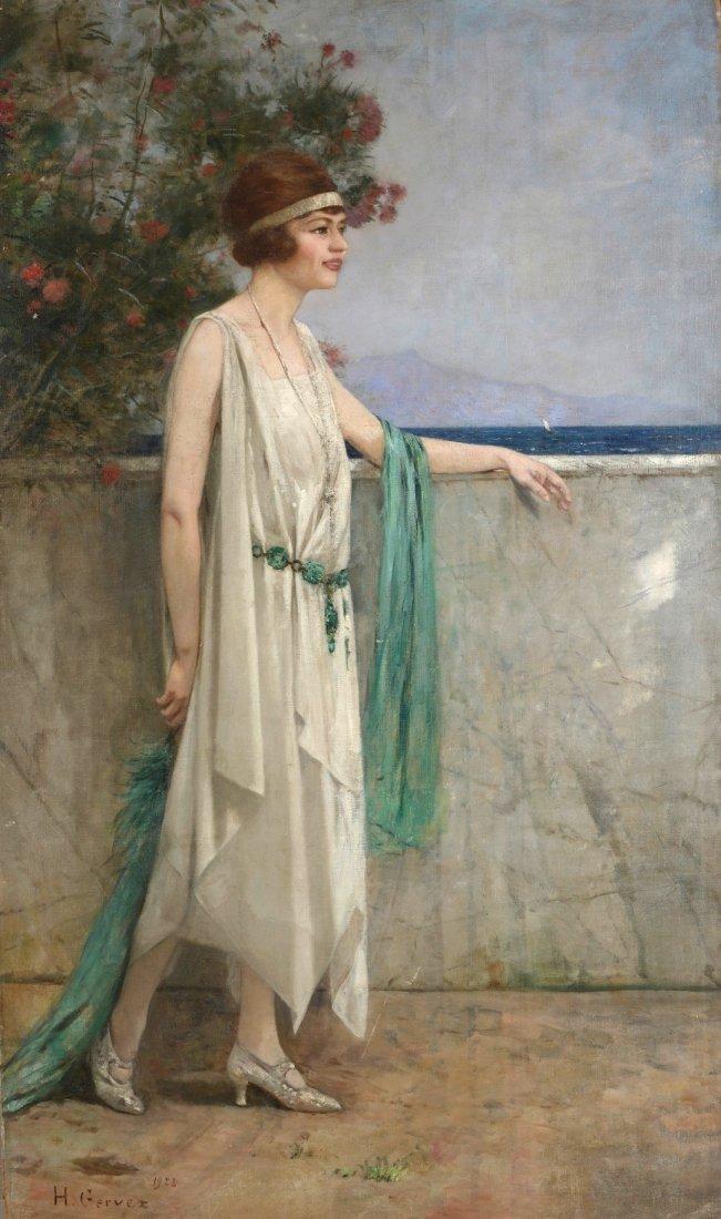 Henri GERVEX (1852-1929) Elégante en bord de mer, 1922