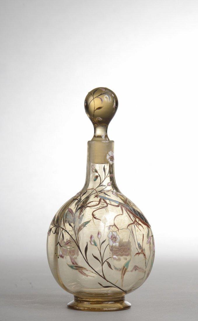 Emile GALLE (1846-1904) Flacon de forme ovoïde en verre